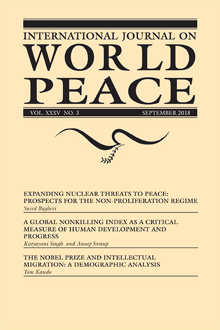 Nuclear NonProliferation A NonKilling Index And Nobel Prize